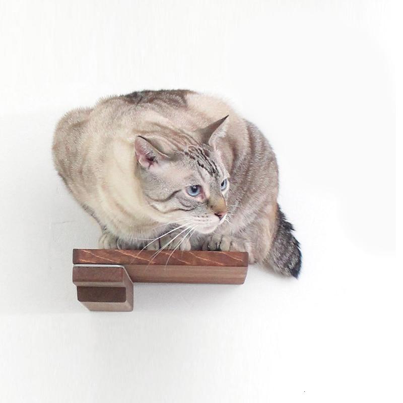 Estante de pared de madera para gatos, plataforma de escalada para mascotas, percha para gatos, Rascado de gato pequeño, poste, muebles modernos para reposar paredes de gatos M6154
