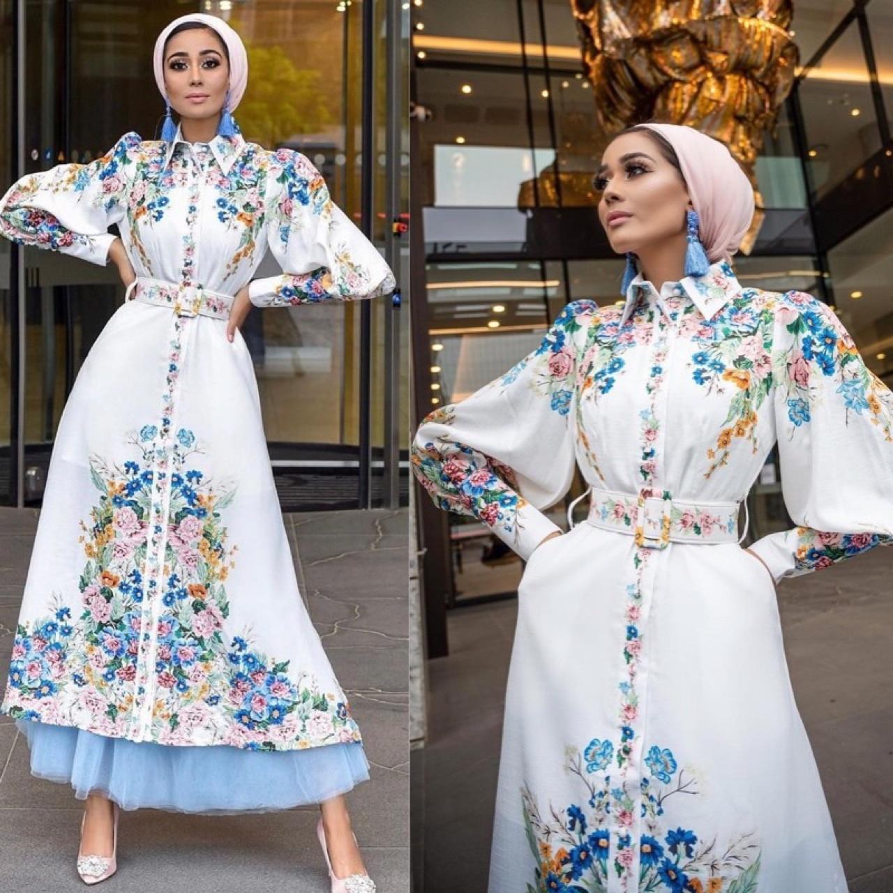 Mandylandy las mujeres árabes musulmanes alta cintura vestido largo Cardigan Moda musulmana...