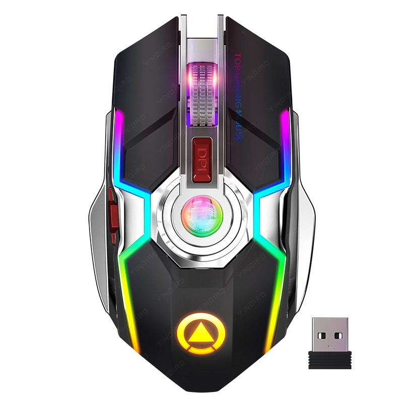 2021 Silent Wireless Mouse Rechargeable 2.4G Gaming Mouse 1600 DPI 7 Buttons LED Backlight USB Optical Mouse For PC Laptop