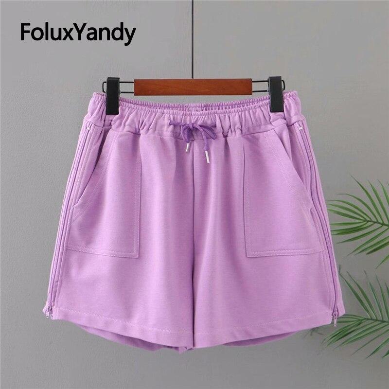 Zippers Casual Womens Shorts Plus Size XXXL 4XL 5XL Elastic Waist Loose Large Summer KKFY5516