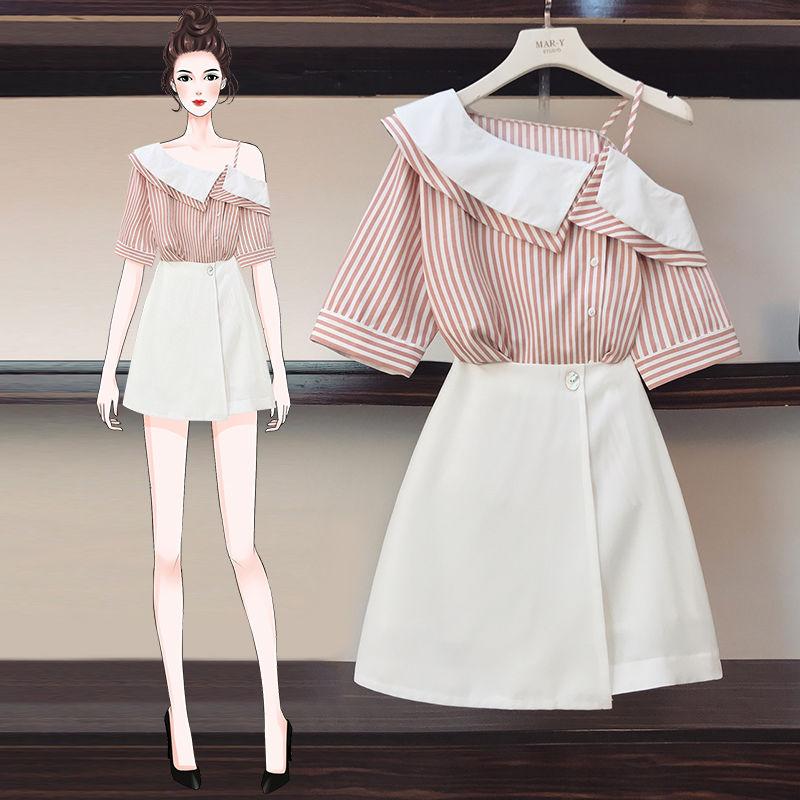 Women 2020 Summer Fashion Slash Neck Short Sleeve Top And High Waist Mini Skirt Set Female Casual Elegant Slim 2 Pieces Set L240