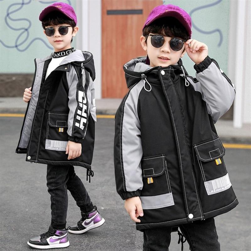 Boy's cotton coat new Korean style cotton-padded jacket medium and big children Winter cotton dress trendy fall winter coat enlarge