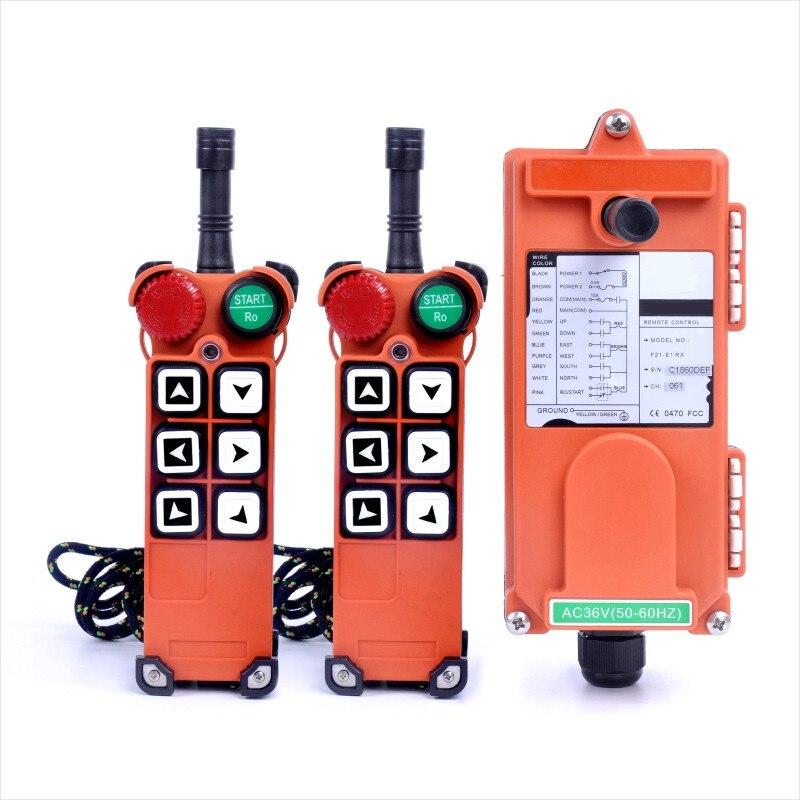 F21-E1 (2 transmisores + 1 receptor) Radio inalámbrica Industrial 6 botones control remoto para grúa de elevación