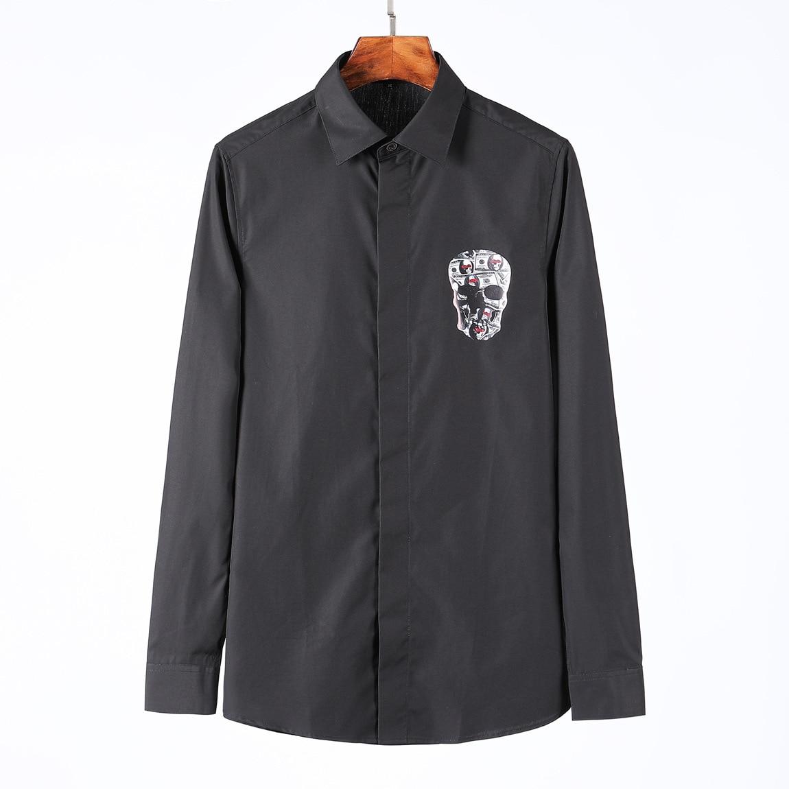 2019 Camisa de vestir para hombres de manga larga de alta calidad camisas de calavera de algodón peinado de diseñador para hombre Casual ropa abrigos Camisa Masculina 4XL