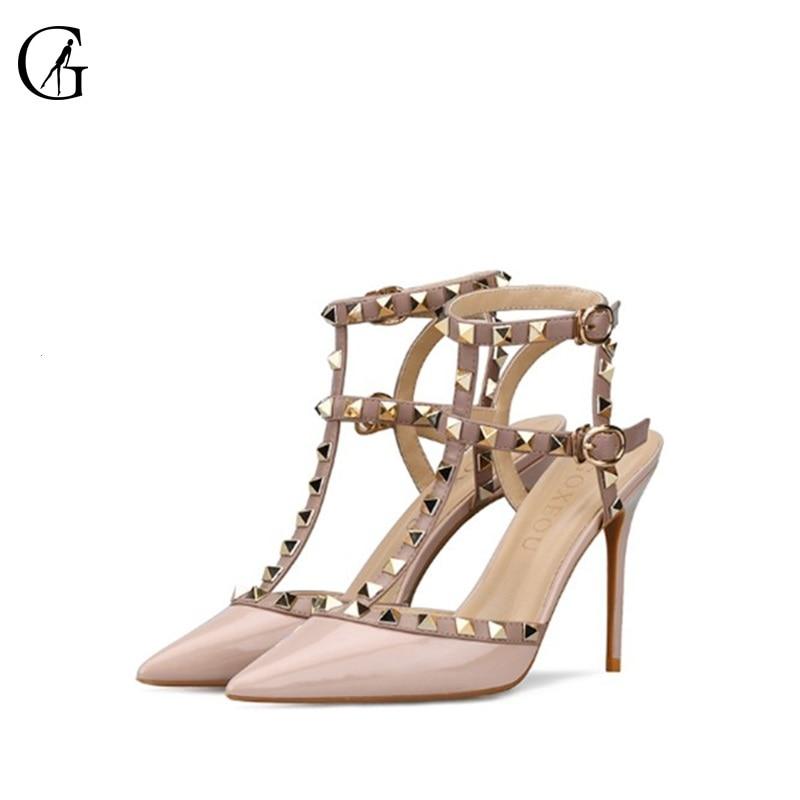 GOXEOU-صندل من الجلد اللامع للنساء ، حذاء مدبب ، كعب خنجر ، 3 ألوان ، عصري ، للحفلات ، مقاس 32-46
