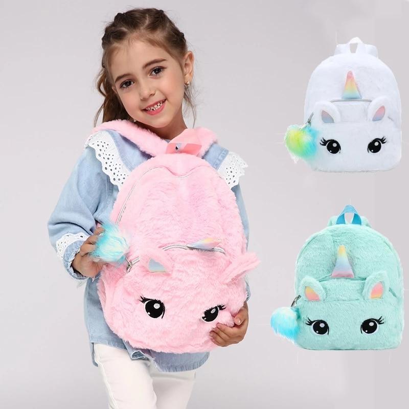 1PC Cartoon 30CM Cute Unicorn Plush Backpack Toy Kawaii Fashion Backpack for Girls Children Kids Hig