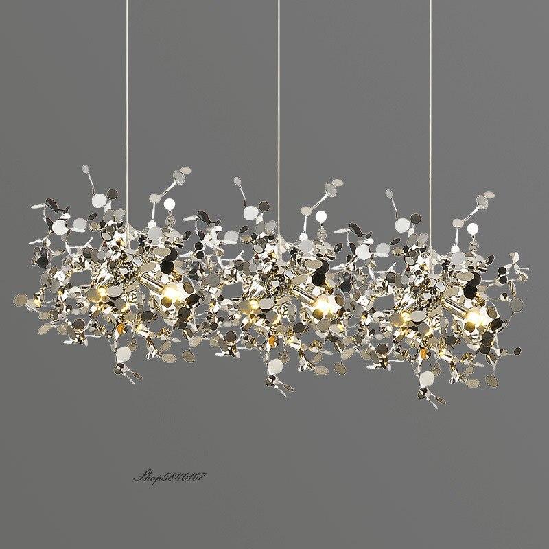 الحديثة قلادة Led أضواء الفولاذ الإبداعي المقاوم للصدأ السقف Hanglamp ضوء ل مصباح لغرفة المعيشة مقهى مطعم تركيبات إضاءة