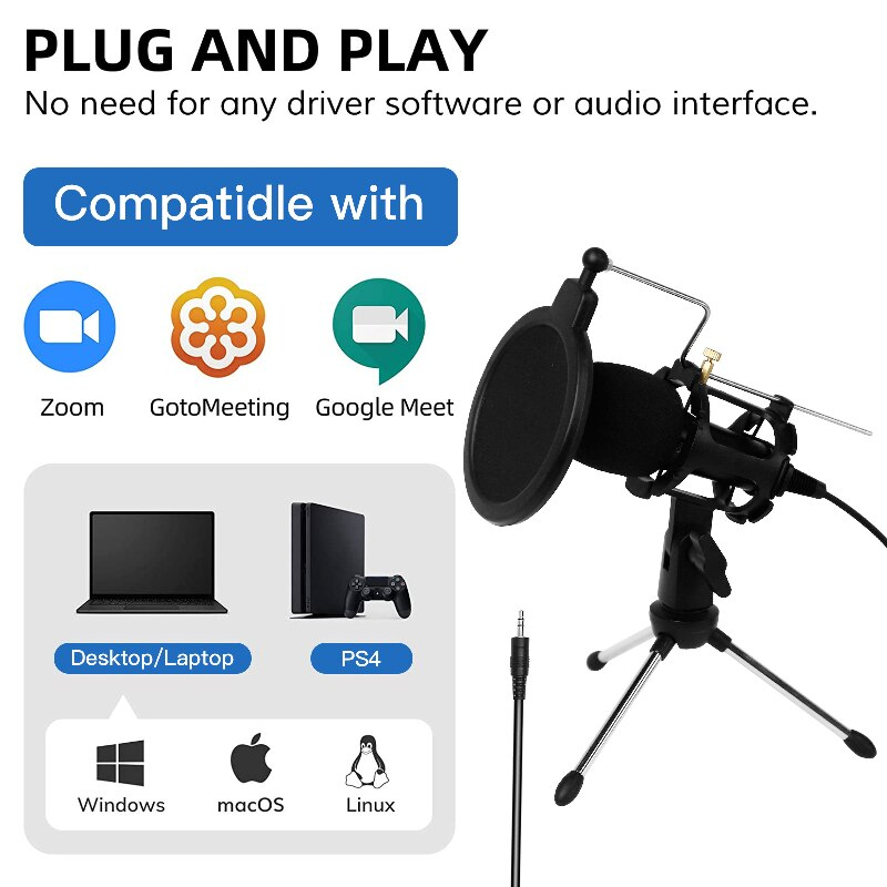 Double Spin Microphone Recording Equipment Condenser Audio Noise Reduction Karaoke Mic Streaming Chat USB Professional Podcast enlarge