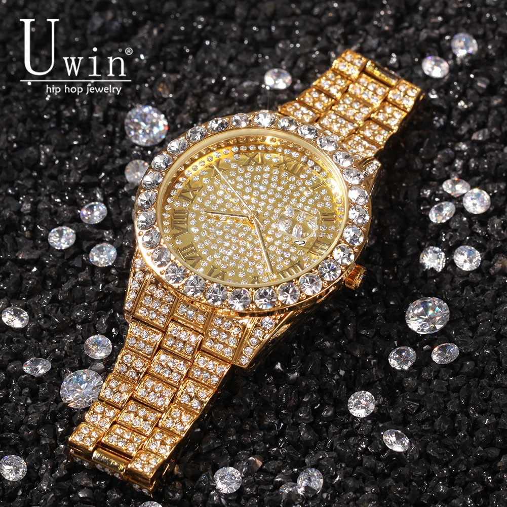 Uwin Big Dial Full Iced Out Men Watches Stainless Steel Fashion Luxury Rhinestones Quartz  Wristwatches Business Watch