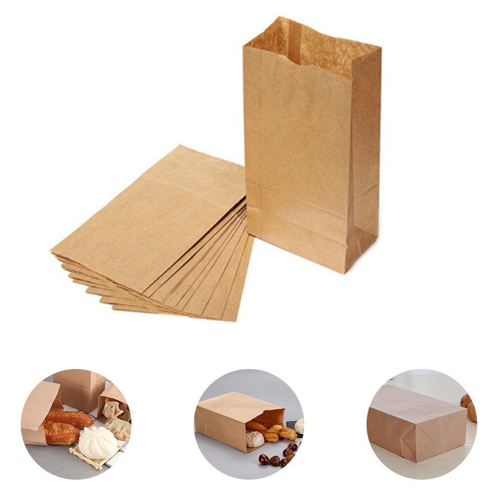 20pcs Kraft Paper Bags Food Tea Small Gift Bags Sandwich Bread Bags Party Wedding Supplies Wrapping Gift Takeout Take Out Bags