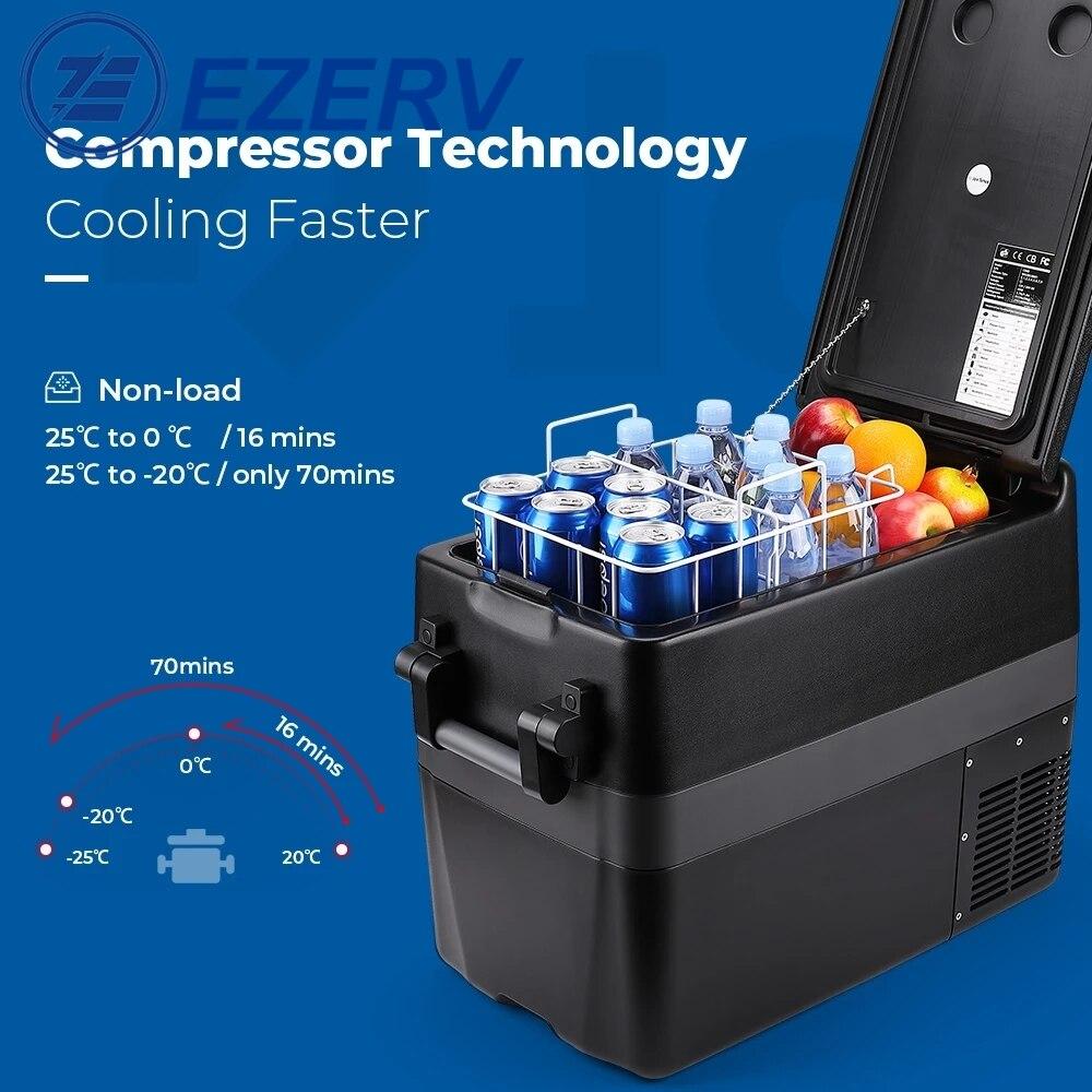 50L Car Fridge RV Refrigerator 40L Compressor Cooler Freezer Dual Use 60w 32L for Home Travel Camping 2 Charging Methods 12V/24V enlarge