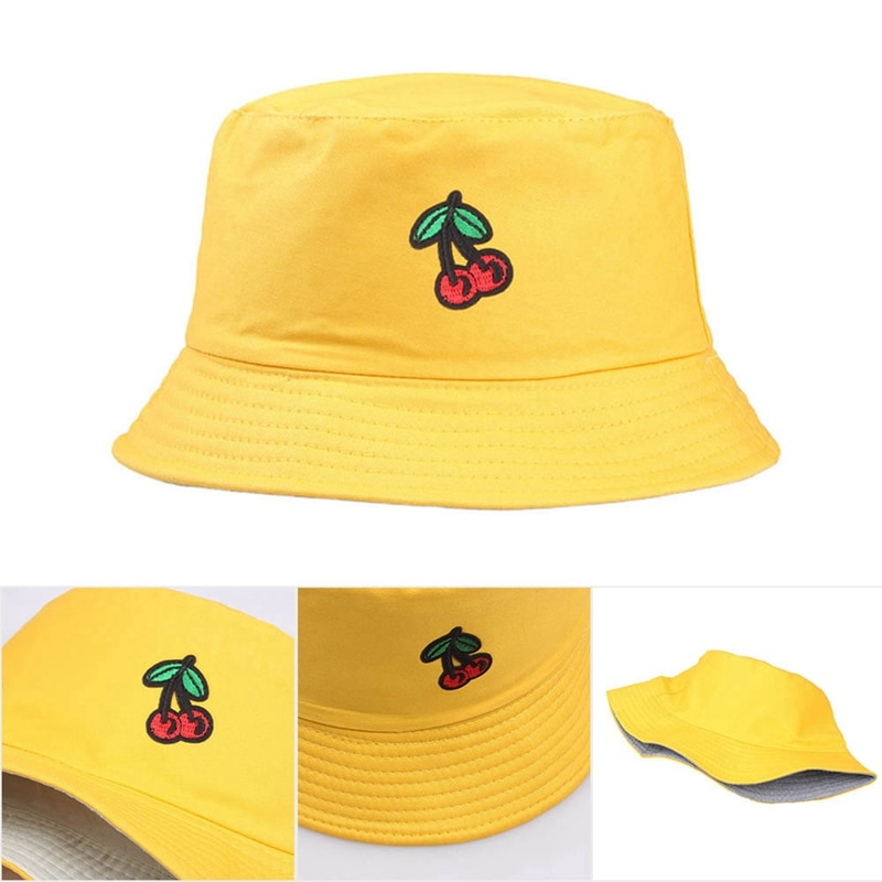Fashion Women Hat New Cherry Embroidered Basin Cap Women Spring And Summer Outdoor Wild Casual Men Bucket Sun Hat