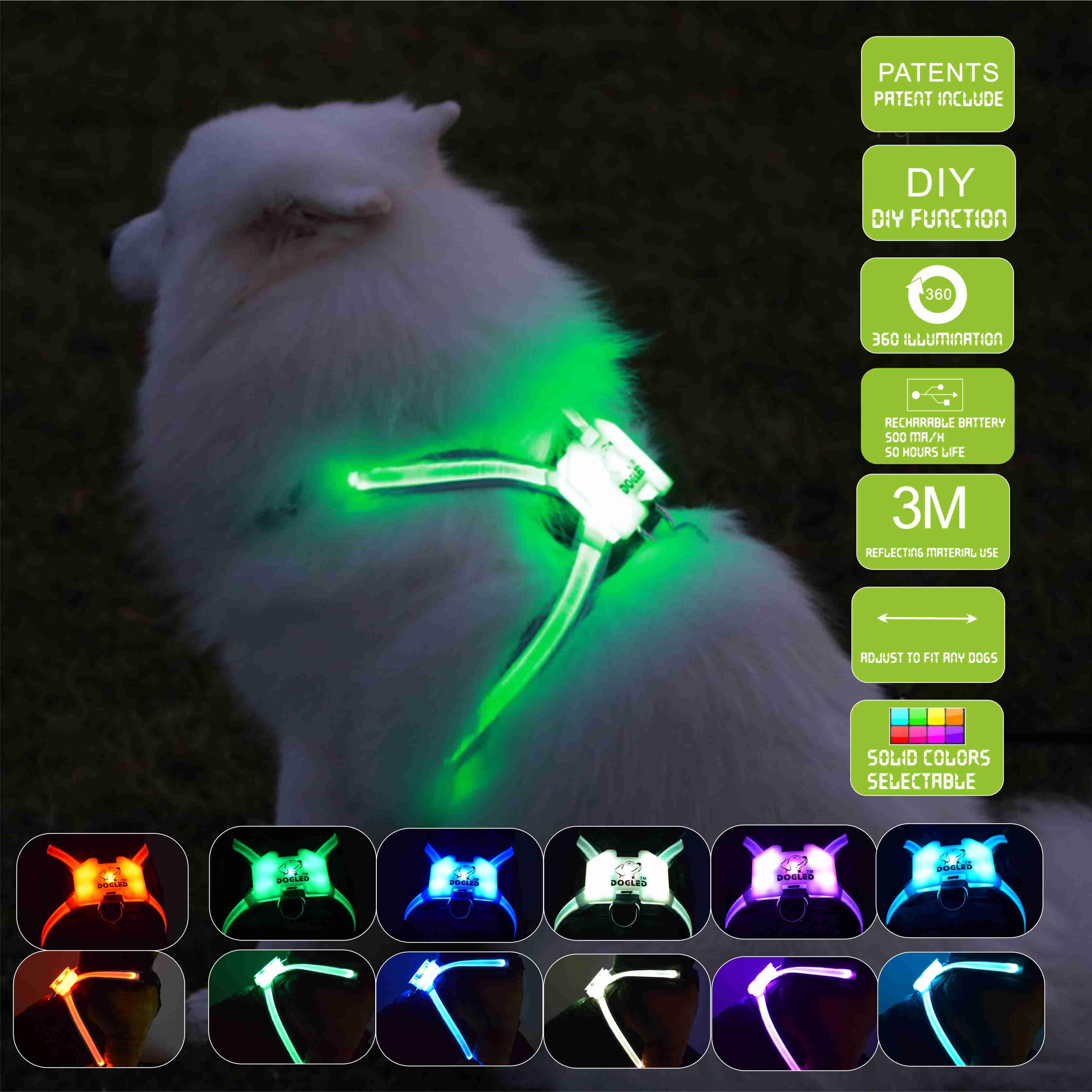 Dogled تسخير الحيوانات الأليفة المنتجات ل كبيرة 7 في 1 اللون الكلب تسخير متوهجة USB Led طوق جرو الرصاص الحيوانات الأليفة سترة الكلب يؤدي