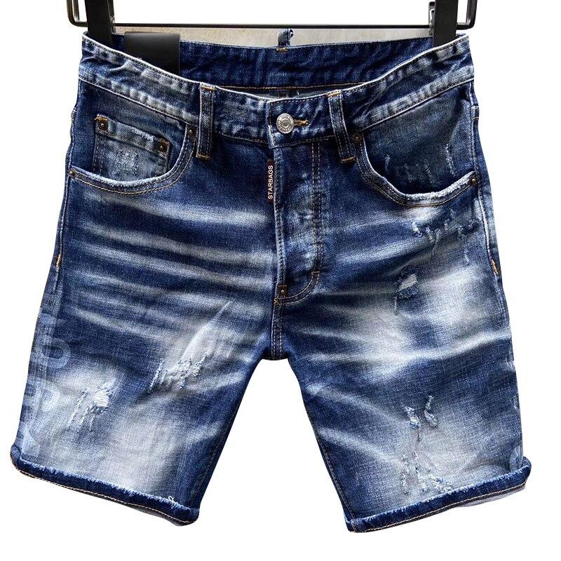 Starbag dsq quatro temporada jeans carta masculina couro logotipo buraco pintura ponto hip hop magro azul elástico italiano pop marca d2d novo estilo