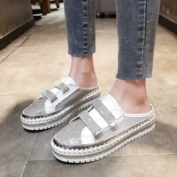 2021 summer luxury crystals velcro half slippers women mesh womens shoes outside fashion breathble platform slippers for women