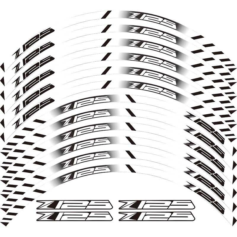 Novedad, 12 tiras reflectoras de pegatinas con personalidad para motocicletas, accesorios para buje de rueda, llanta exterior para KAWASAKI Z125 z 125