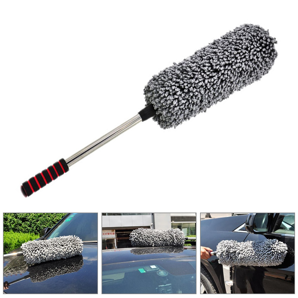 1pc microfiber telescoping car body duster wax dust mop cleaning brush cotton nanofiber car microfiber dust grey brush 13 5x40cm Cleaning Brush Car Washing Mop Dust MopMicrofiber Telescoping Car Body Duster Wax Auto Care Cleaning Tools Accessories