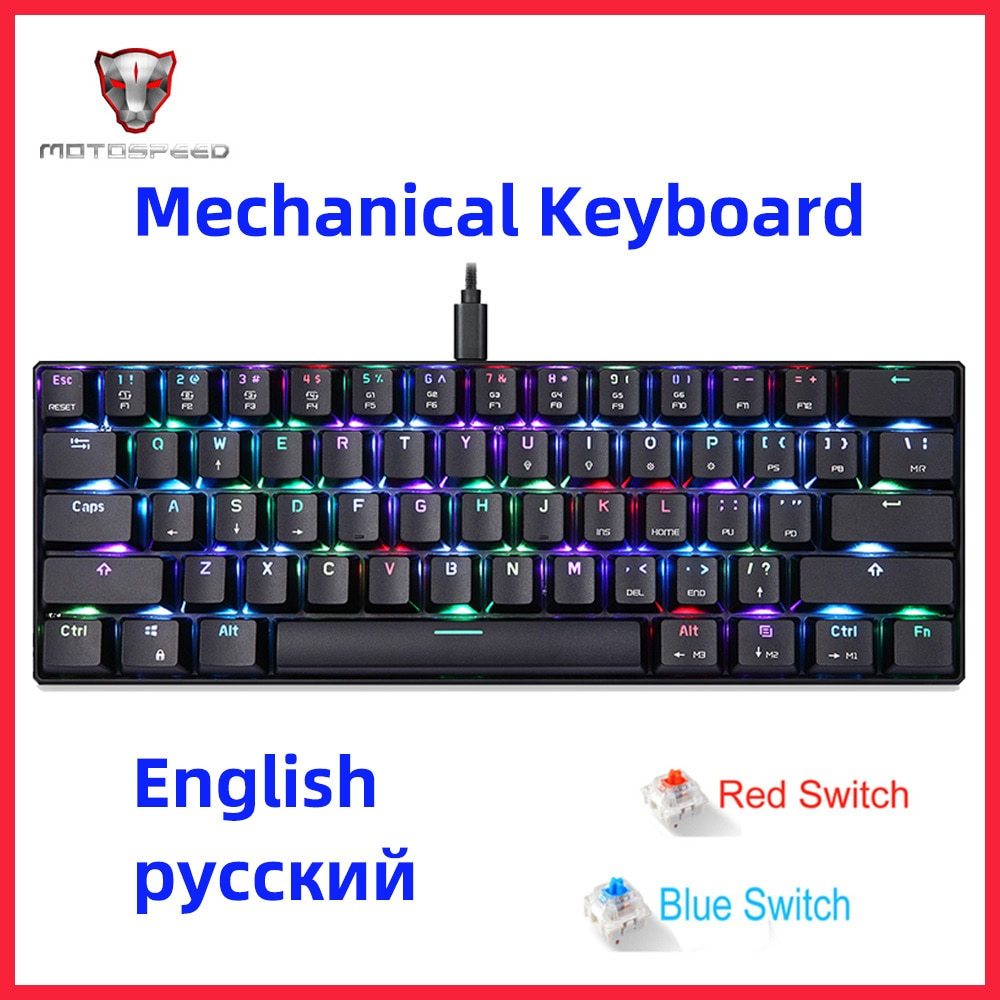 MOTOSPEED CK61-لوحة مفاتيح ميكانيكية للألعاب RGB ، مع مفتاح أزرق وأحمر ، مفاتيح مقاومة للشبح ، للكمبيوتر والتلفزيون والألعاب