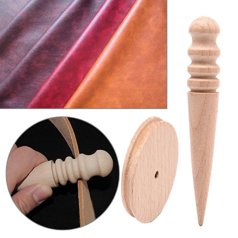 1 conjunto de ferramentas de corte de couro borda polimento moagem hastes redondas punho de madeira jóias equipamentos