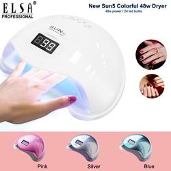 Nova chegada colorido 48 w sun5 secagem rápida conduziu a lâmpada do prego uv terno para todo o tipo de unha gel polonês secador de unhas manicure lâmpada uv