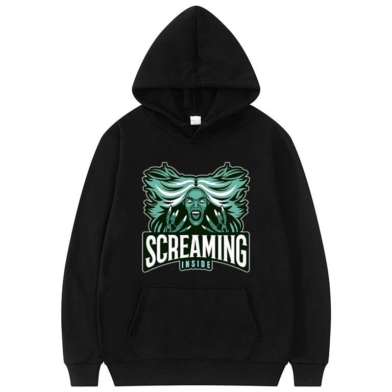 Screaming Inside - with Screaming Banshee Graphics Print Hoodie Men Women Hip Hop Hoodie Cotton Clothing Mens Fashion Sweatshirt