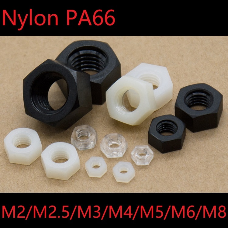 5 uds tuercas hexagonales de plástico M2 M2.5 M3 M4 M5 M6 M8 Nylon PA66 aislamiento térmico cerradura hexagonal tuerca rosca perno tapa negro blanco claro M2-M8