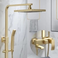 tuqiu rainfall shower sets faucet mixer tap with tub faucet brass luxury brushed gold bath shower faucet set bathtub faucet