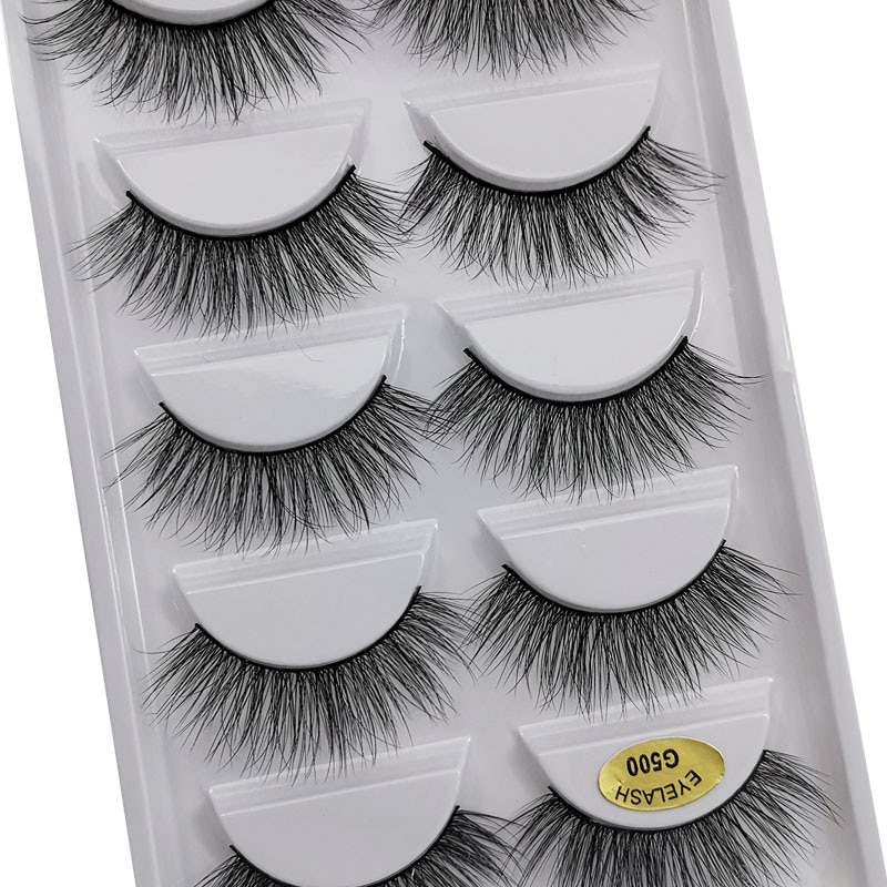 5 Pairs makeup eyelashes faux mink false eyelashes natural long lashes extention tools dramatic lash