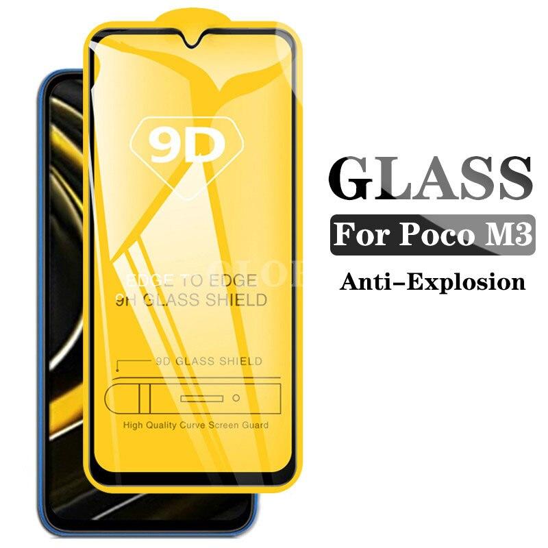 Funda de vidrio templado 9D para Xiaomi Poco M3 pocom3, protector de...