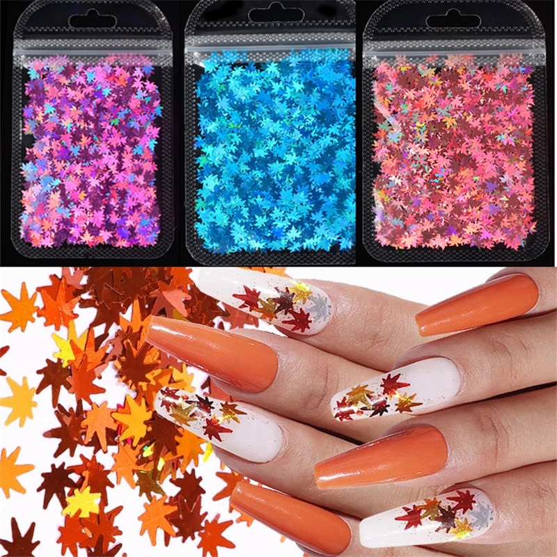 3D Glitter Holographic Maple Leaf Nail Glitter Flakes Sequin Mirror Sparkly Paillette Nail Stickers For Nail Art Decoration 1Bag