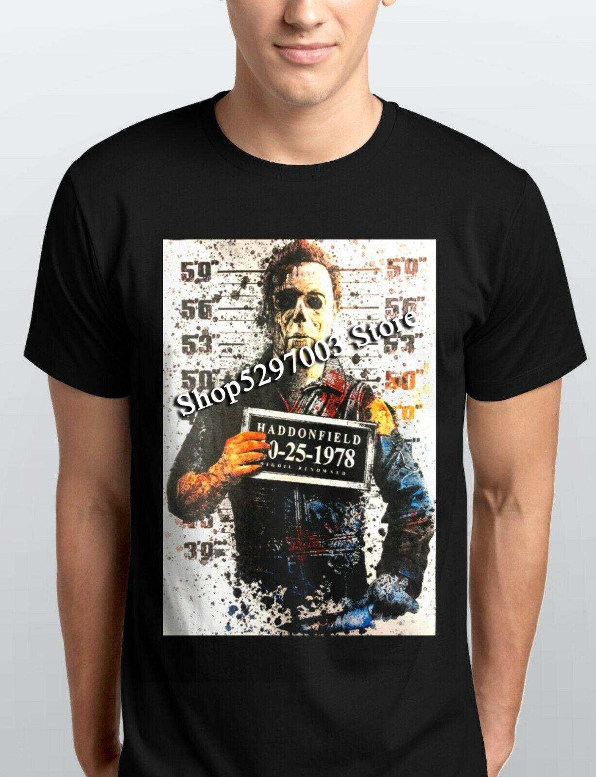 Michael Myers Halloween Haddonfield policía taza Shot película de terror camiseta nuevo tamaño grande Top camiseta