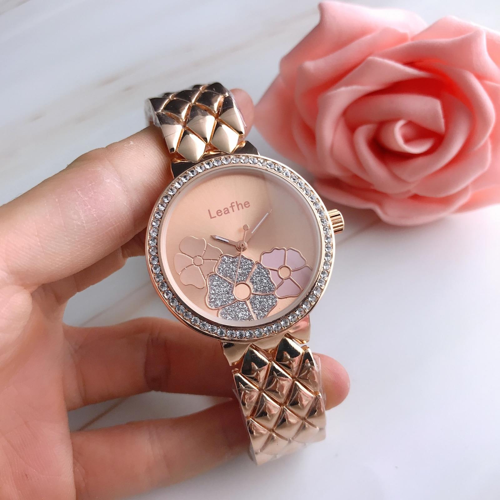 Fashion Brand Ladies Watches Silver Gold Rose Stainless Steel Flower Watch Women Quartz Watch Female Clock Reloj Mujer enlarge