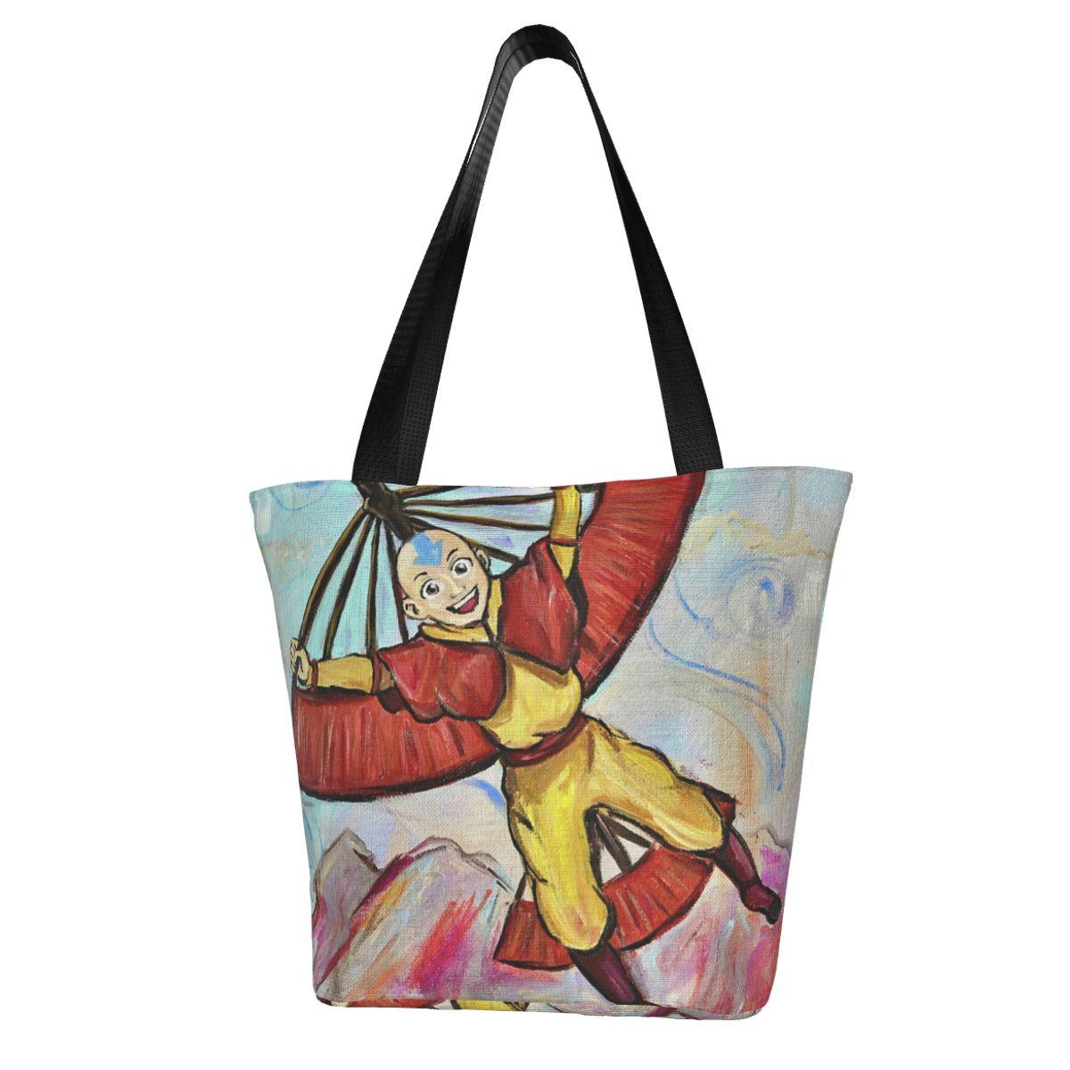 Аватар, последняя сумка для покупок Airbender, тканевые сумки для улицы, Женские винтажные сумки оптом