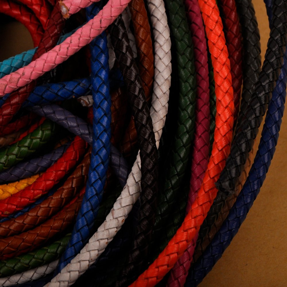 100m 5mm Braided Round Cow Leather Cord Genuine Leather Rope String Findings Cord Jewelry Making Supplies
