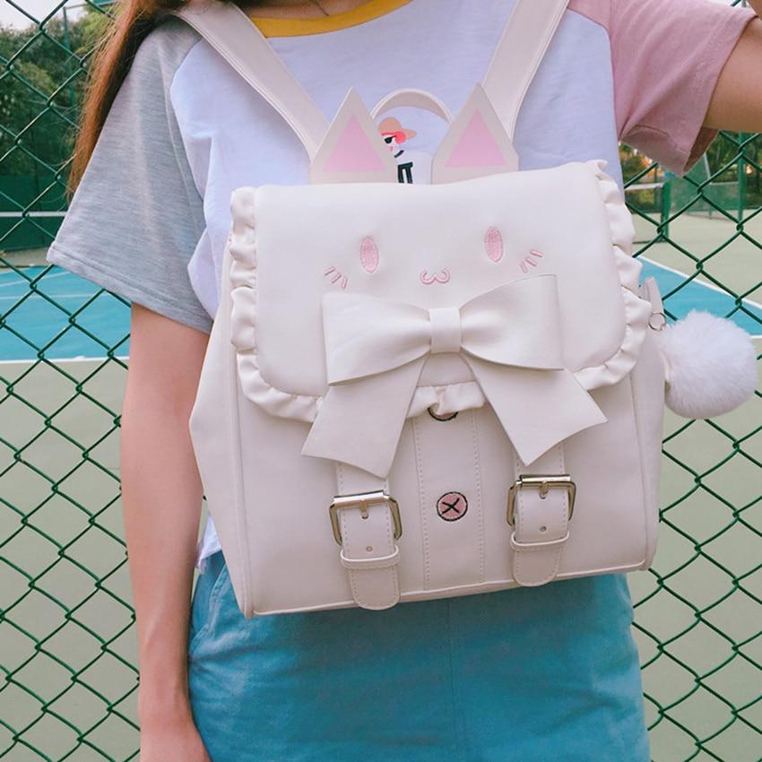 حقيبة ظهر على شكل قطة بيضاء/وردية ، لطيفة ، يابانية ، طالب ، لوليتا ، مطرزة ، قطة ، فيونكة ، كاواي ، للبنات