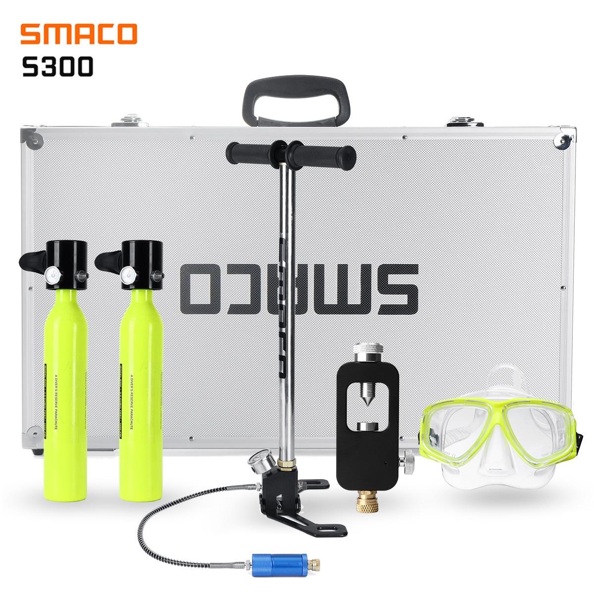 SMACO комплект для 2 человек, система для дайвинга, мини цилиндр для подводного плавания, кислородный резерв, Воздушный бак, насос, алюминиевая ...