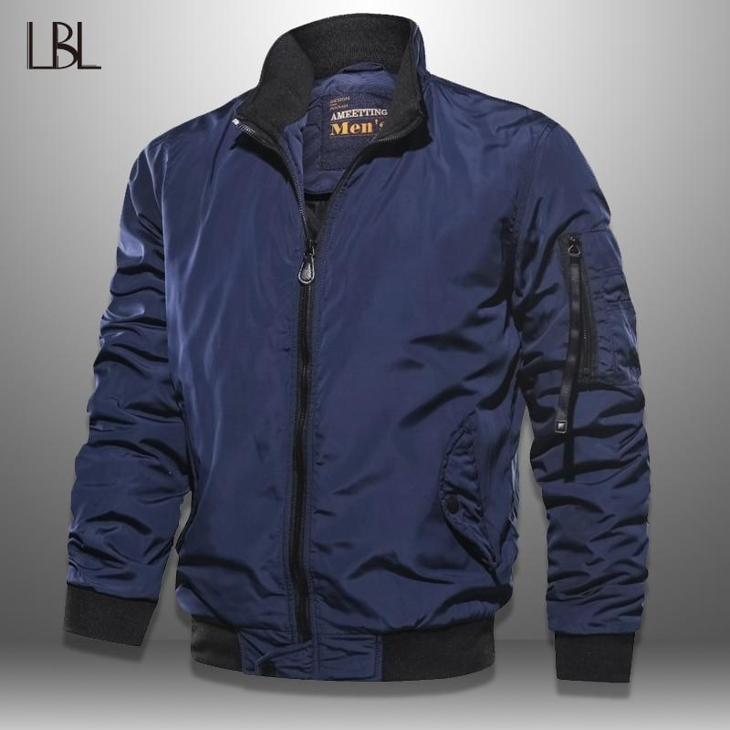 Bomber Jacket Men Casual Outono Primavera LBL Sólida Bolsos Militares Jaquetas Homem Outwear Slim Fit Mens Casaco de fato de Treino Roupas de Marca