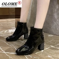 martin boots korean version 2021 autumn and winter new short boots womens boots square toe thick heel with diamond