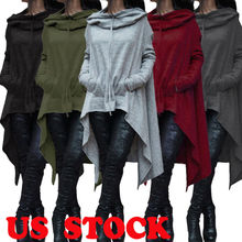 2019 Newest Fashion Long Hoodie Fleece Loose Tunic Top Women  Solid Pullover Hooded Sweatshirt Oversized