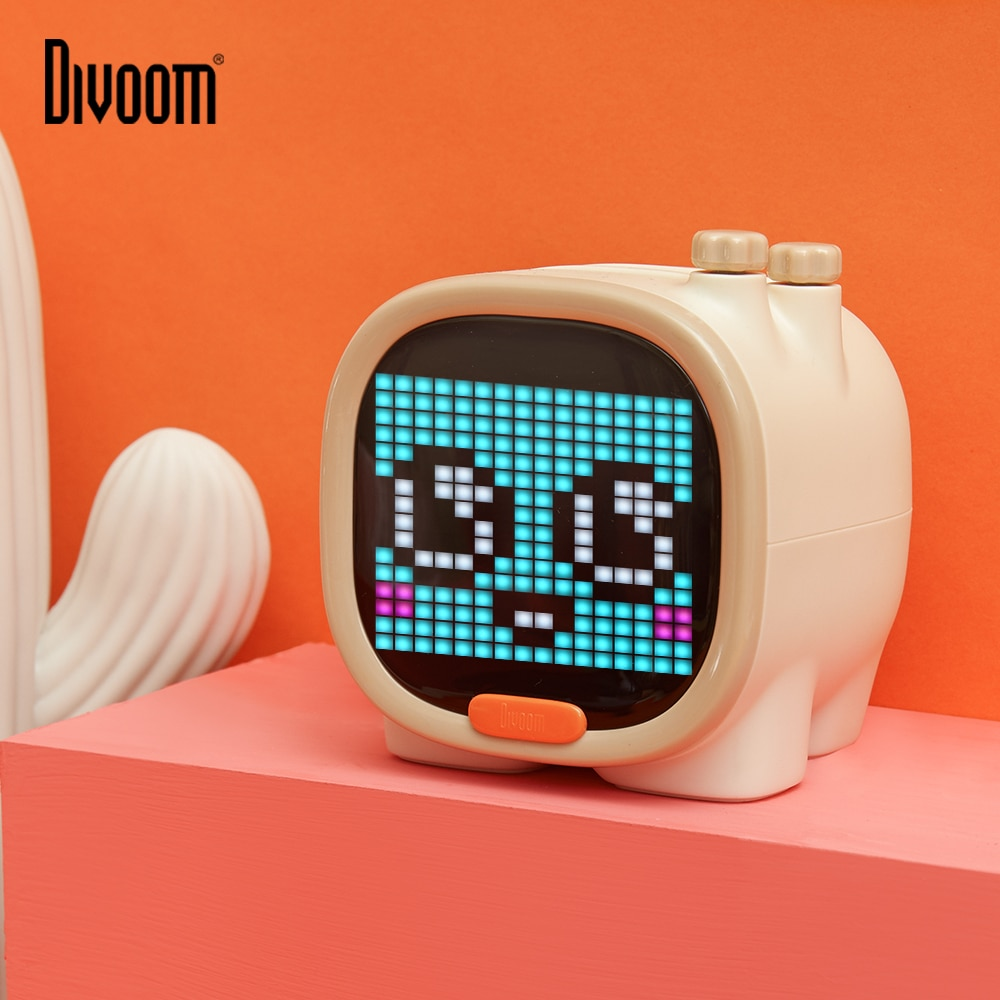 Portable Bluetooth Speaker Wireless Mini with Alarm Clock,Pixel Art,TF Card,Cute Gadget with LED Screen for Desktop