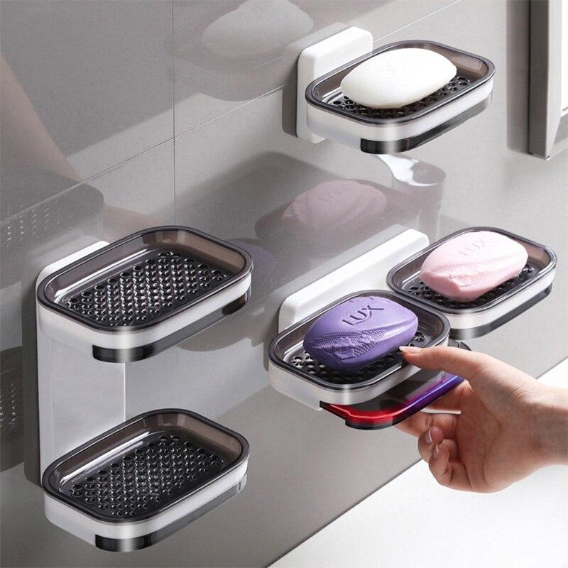 طبقة مزدوجة الحائط أطباق للصابون صندوق استنزاف الإسفنج حامل تخزين الرف ل اكسسوارات الحمام لوازم المطبخ المنظم