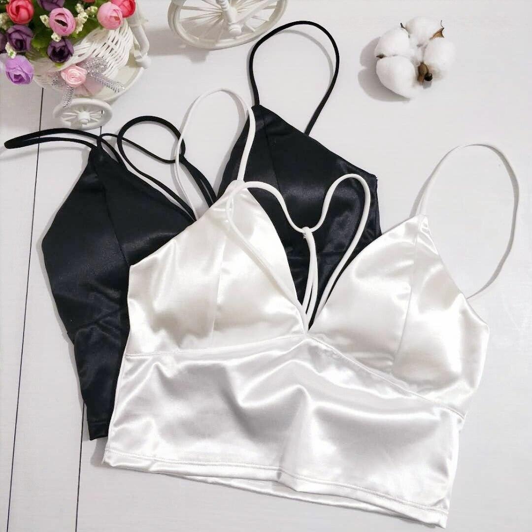Sexy Satin Cami Tops Women Bralette Bustier Bra Vest Shirt V Neck Ladies Top Backless Shirts Club Camisole