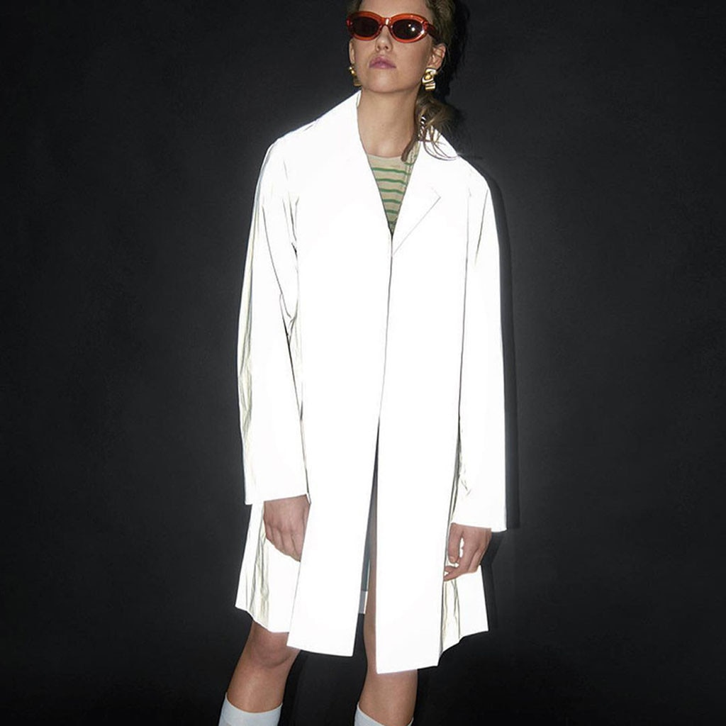 Women's coats Women Fashion Street Turndown Collar Reflective Long Wind Cardigan Novelty new coats and jackets women Clothing #3