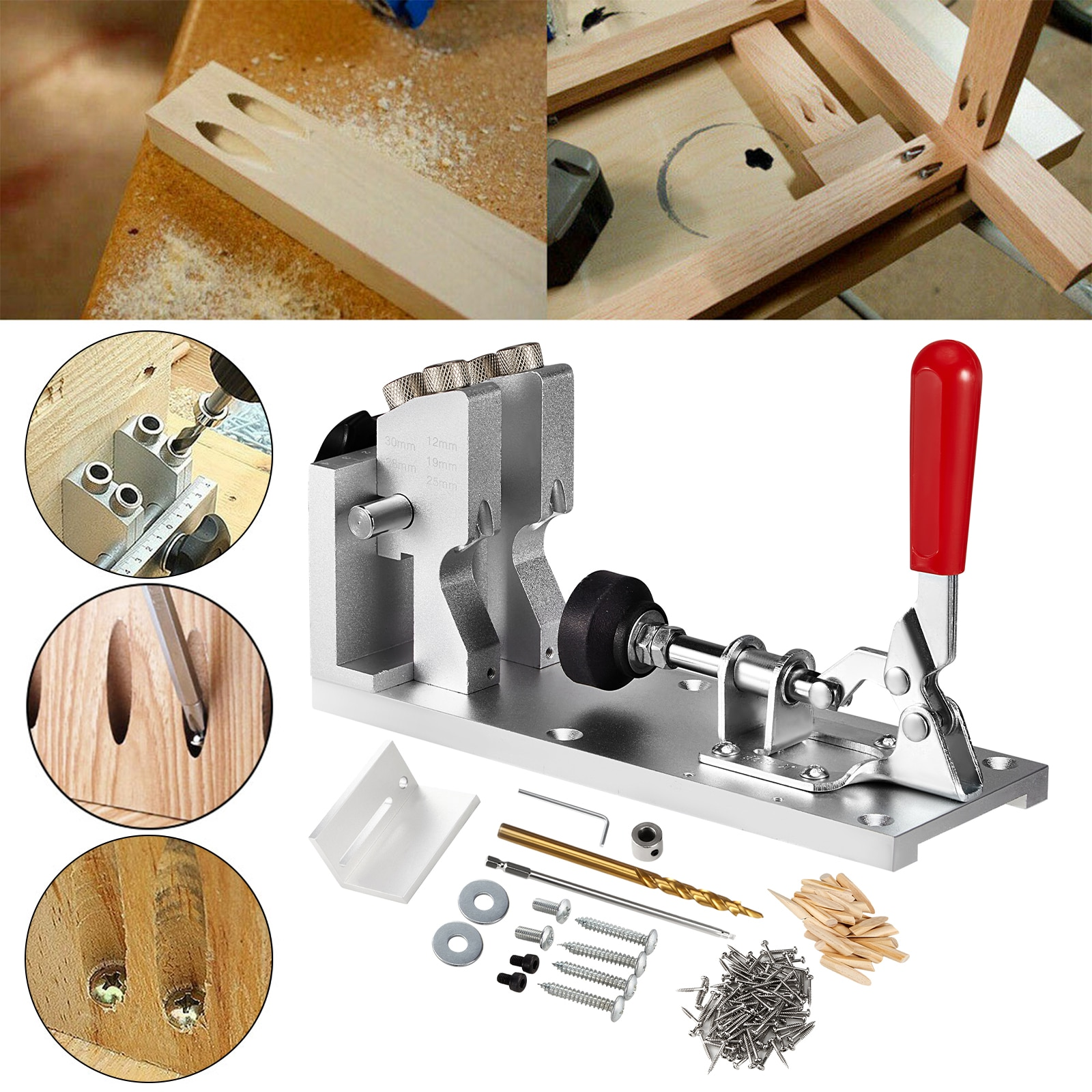 Pocket Hole Jig Kit Woodworking Fixture System Adjustable And Easy-to-use Woodworking Tools Punch Locator Drill Locator enlarge