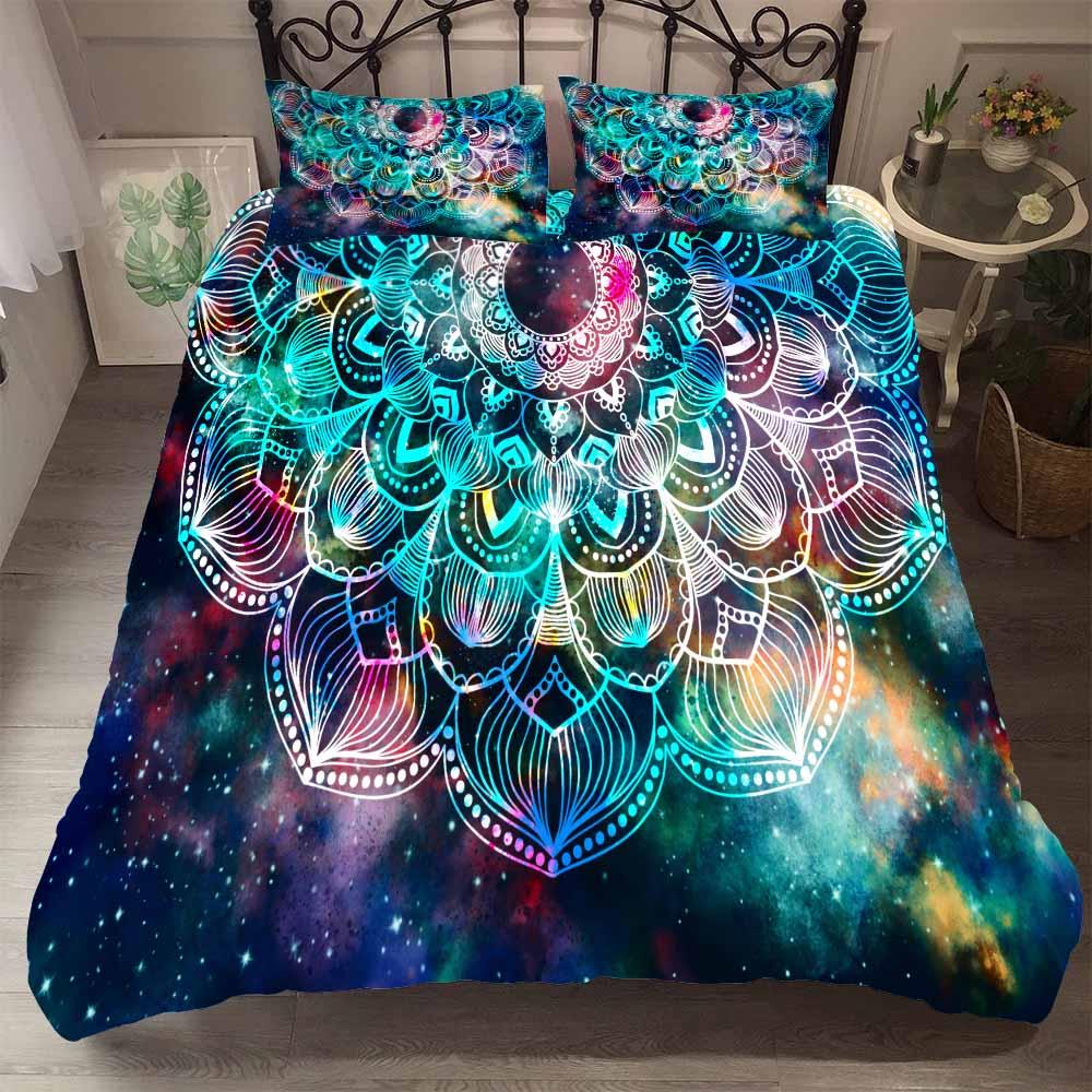 Colorful Stars Bedding Set with Pillowcase Mandala Boho Style Duvet Cover Set 2/3Pcs Single Double Bed Cover 100% Microfiber