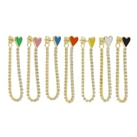 gold color fashion women jewelry 7 colorful neon enamel heart thin cz tennis chain double sided fashion earring