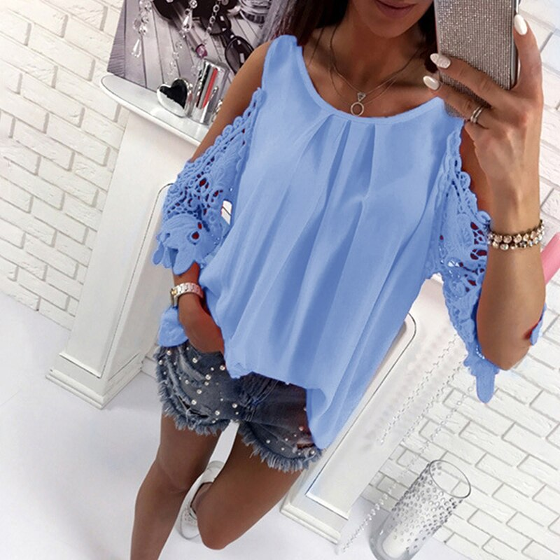 Bigsweety Ladies Blouse Fashion Womens Off Shoulder Tops Shirts Summer Hot Hollow Out Sleeve Shirt Boho Tunic