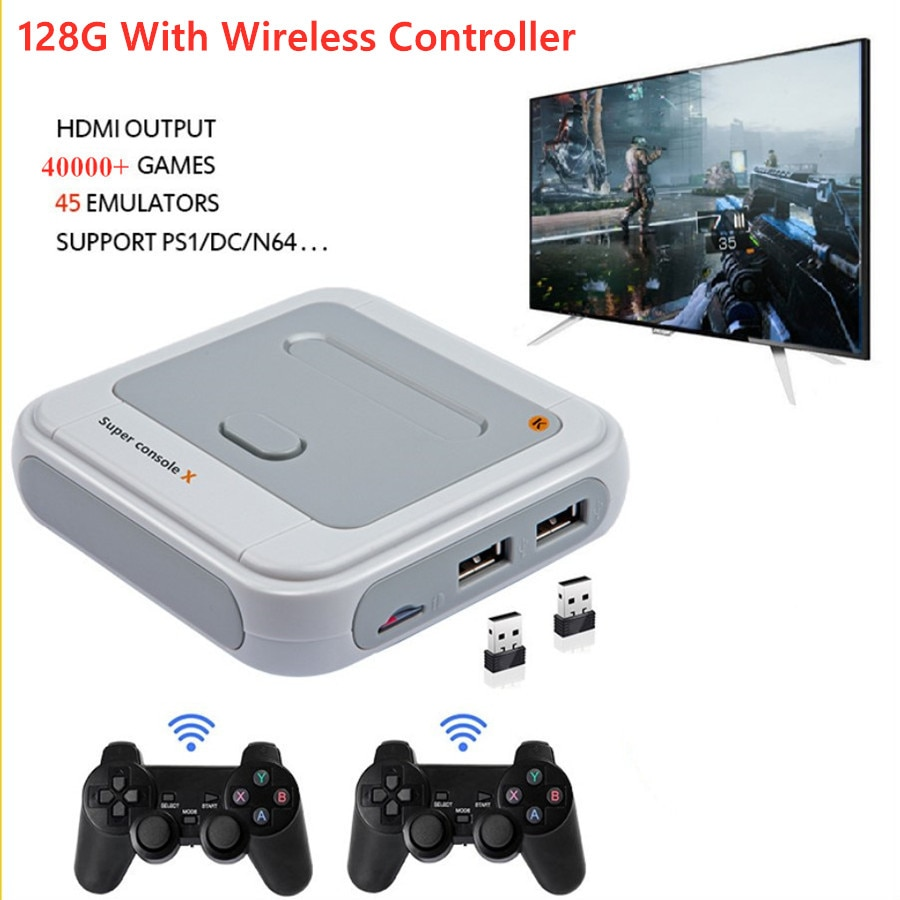 SUPER CONSOLE X 2.4G Wireless Game Console 4K Retro Game Player Classic PS1 N64 30000 Games Support AV HD Wifi TV Console Box