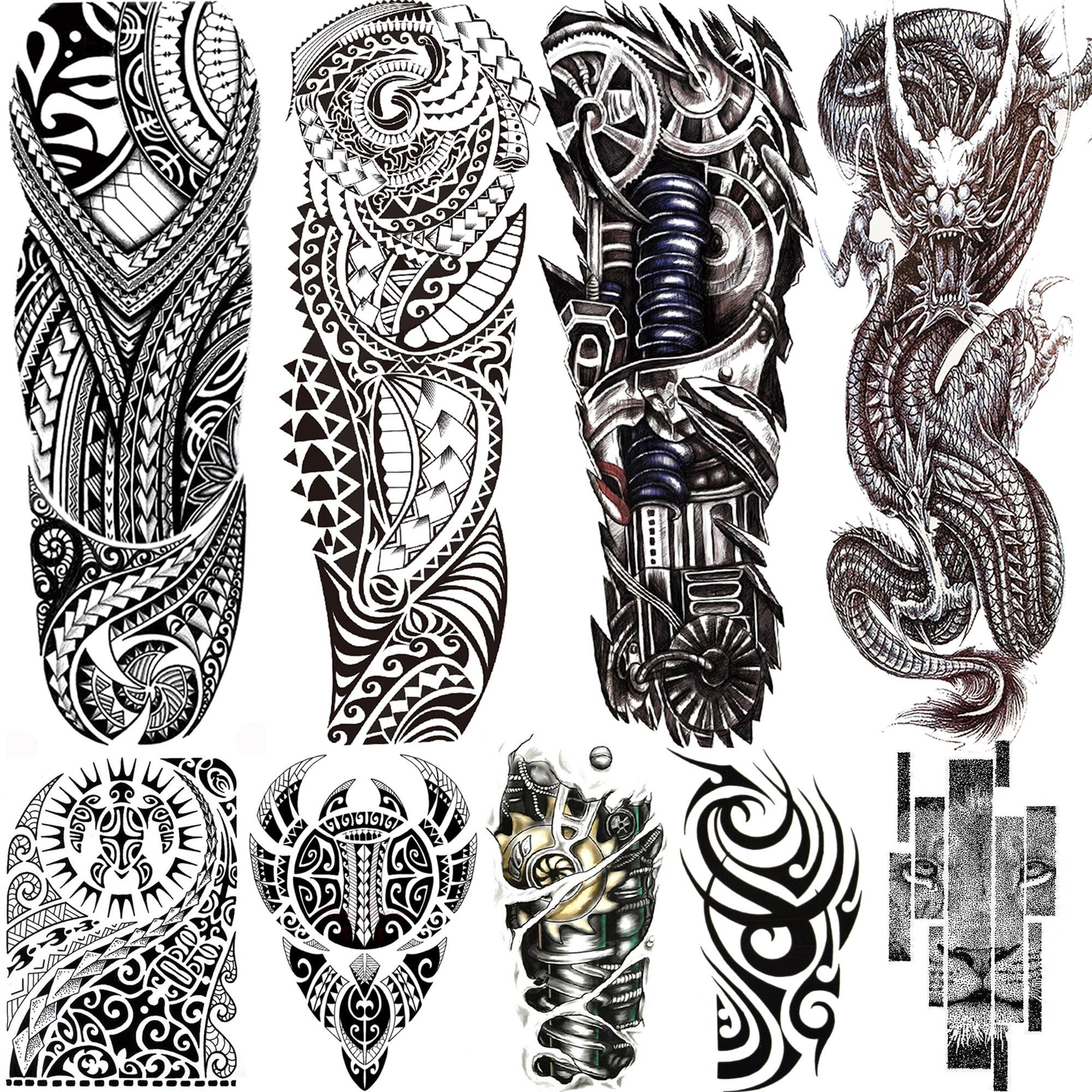 Manga de tatuajes temporal Maori negro para hombres y mujeres tótem falso realista tatuajes temporales grandes cubre pasta tatuaje dragón León