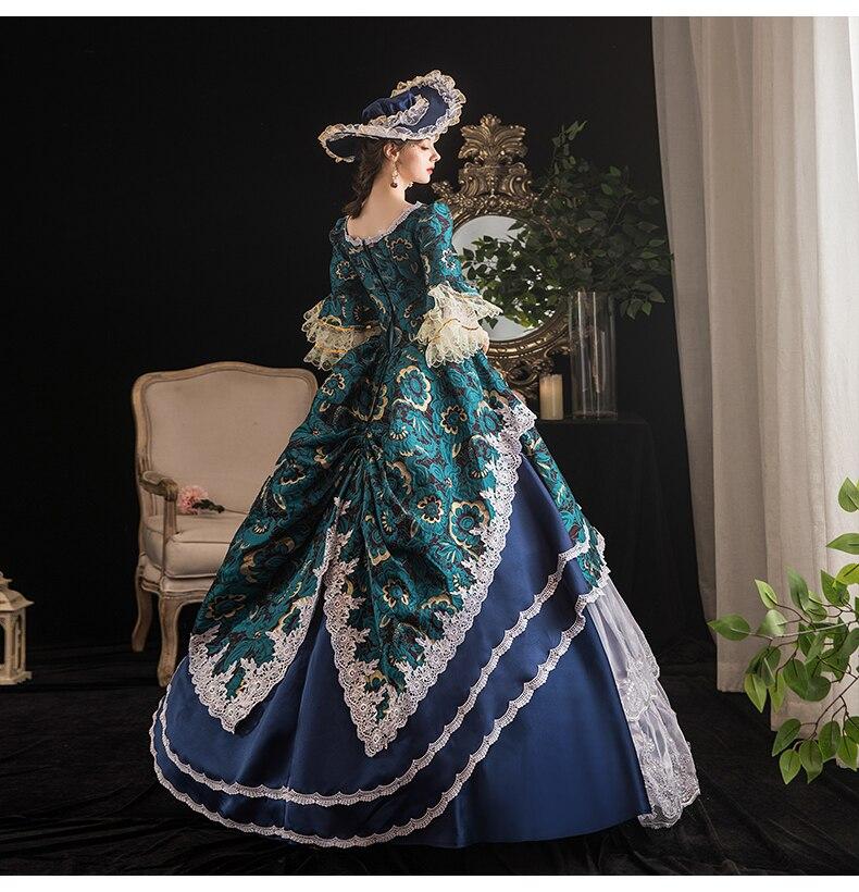 حقيقي خمر الأزرق زهرة الجاكار روكوكو القرون الوسطى الكرة ثوب مع قبعة المحكمة الأوروبية ثوب الملكة فستان الفيكتوري حسناء/الكرة ثوب
